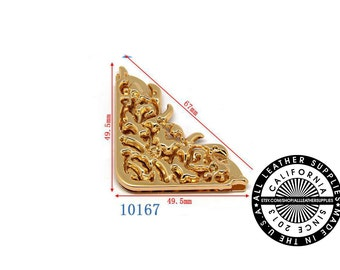 Gold Metal Bag Corner, 49.5 mm x 49.5 mm x 67 mm Bag Clasp, Metal Corner, (10167)