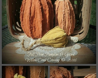 Fall Prim Pumpkins & Gourd E-Pattern (Instant Download)
