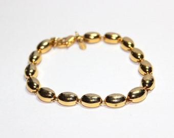 Vintage Monet Gold Tone Chain Link Bracelet Vintage Monet Bracelet Vintage Monet Collectible Oval Button Links Designer Costume Jewelry