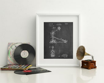 Drum Kick Pedal Poster, Gifts for Drummer, Bass Drum Pedal, Drum Decor, Kick Pedal Blueprint, PP0104