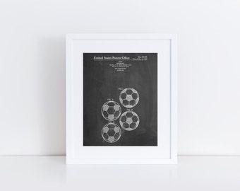 Soccer Ball 4 Image Patent Poster, Sports Wall Decor, Soccer Player, Soccer Coach Gift, Soccer Decor, PP0587