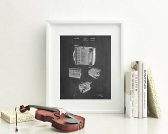 Accordion Patent Poster, Music Room Decor, Music Teacher Gift, Jazz Art, Musician Gift, PP0283