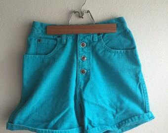 Teal Button Up High Waisted Shorts // ZENA