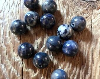 Dumortierite Gemstone Beads - Round - Polished Purple - Center Drilled - Purple - 10mm - 06 Beads