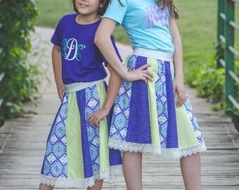 "Girls Aqua/Green/Purple Floral ""Twirly"" Skirt with Lace Trim"