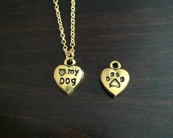 Dog, Dog Necklace, Dog Jewelry, Dog Pendant, I Love My Dog, Gold Dog Necklace, Puppy, Puppy Necklace, Gold Necklace, Necklace