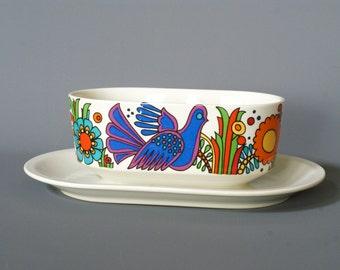 ACAPULCO Gravy Boat by Villeroy and Boch, Acapulco Pattern, Acapulco Design, Retro Porcelain Gravy Boat, Retro Porcelain Dish, Flower Power
