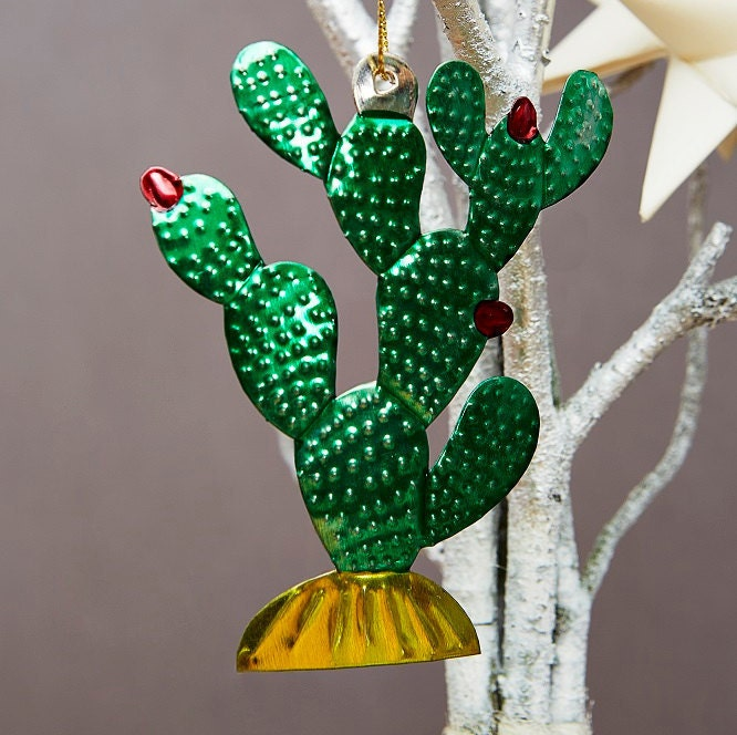 Cactus Mexican Tin Decorations Hand Painted Hanging Metal