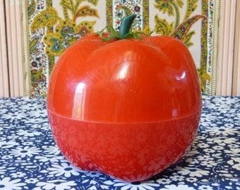 Red tomato plastic ice bucket - pop retro kitchenalia - French 70s vintage