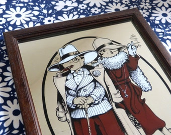 Big eyed flapper couple The Big Shot screen print mirror - framed Art Deco revival wall art - French 70s vintage