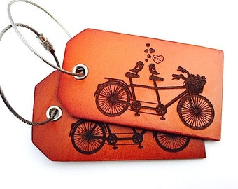 Retro Schwinn Bike Luggage Tag, Bicycle, Couple Romance Gift, Identification Travel Tag, Cycling Biker Gift, Love Birds, Fine Leather