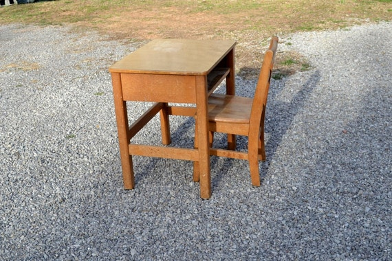 RESERVED Vintage School Desk and Chair Wood Child Kid Size Old