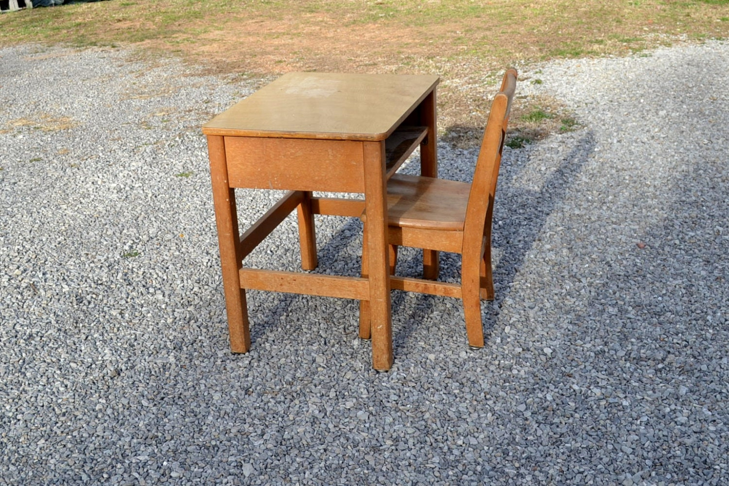 Wonderful image of RESERVED Vintage School Desk and Chair Wood Child by PanchosPorch with #9C5F2F color and 1500x1001 pixels