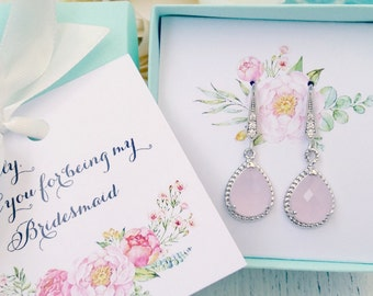Bridesmaid set blush pink crystal earrings - bridesmaid earrings -  bridesmaid jewelry -  bridesmaid gift - wedding jewelry