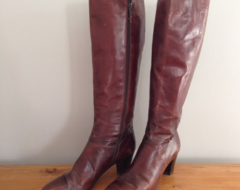 Brown Leather Ferragamo Italian Knee High Boots Size 7