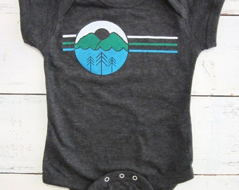I love the outdoors baby one piece and baby shirt. Hiking and camping baby bodysuit. American apparel.
