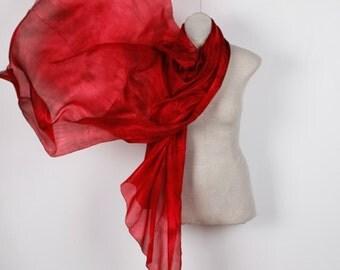 large evening silk scarf / Dark red silk scarf /  fire red shawl   /  long evening silk shawl /woman's evening silk shawl
