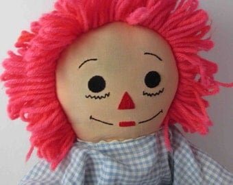 """Vintage Raggedy Ann Cloth Doll 21"""" - Blue Gingham Dress, White Bloomers (No Tags or Maker)"""