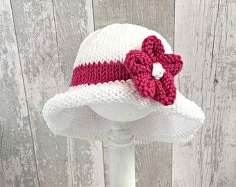 Baby Beach Hat Flower, Floppy Hat, Infant Sun Hat, Baby Sunhat, Bucket Hat for Babies, Girls Sun Hat, Baby Shower Gift Girl, Wide Brim Hat