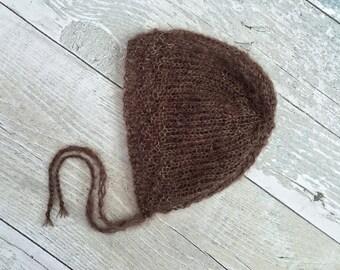 Newborn Mohair Gender Neutral Knit Bonnet, Knitted Baby Bonnet, Newborn Baby Photo Props, Newborn Gift, Newborn Photography Outfit