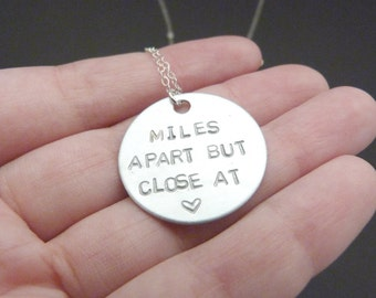 Long distance friendship necklace, miles apart but close at heart, long distance relationship gift