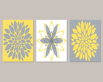 Yellow Gray WALL ART Dahlia Flower Burst Bedroom Wall Decor Home Decor Abstract Floral Flourish Artwork Set of 3 Prints Or Canvas