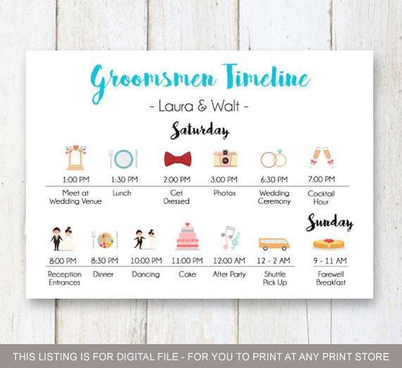 Custom Aqua Groomsmen Timeline Program Wedding Timeline