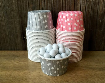 Silver and Pink Paper Snack Cups - Set of 48 - Polka Dot Candy Cup - Birthday Party - Mini Ice Cream Cup - Paper Nut Cup - Same Day Shipping