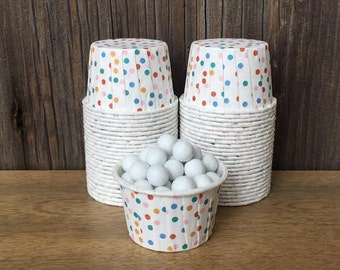 Multi Color Paper Snack Cups - Set of 48 - Polka Dot Candy Cup - Birthday Party - Mini Ice Cream Cups - Paper Nut Cup - Same Day Shipping