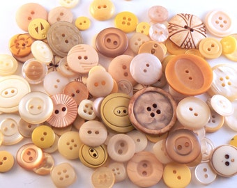 50 Yellow Flat Button Mix - Mixed Yellow Sewing Buttons - Assorted Vintage Buttons - Crafting Buttons - Jewelry Buttons - Mixed Buttons