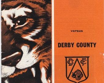 Vintage Football (soccer) Programme - Hull City v Derby County, 1968/69 season