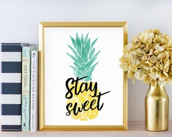 pineapple print pineapple decor tropical print tropical decor beach decor beach - Tropical Decor
