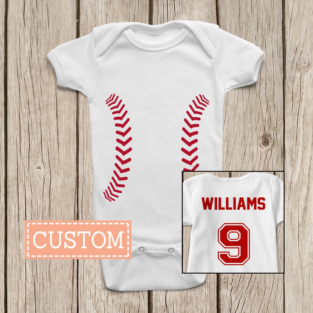 Baseball ONESIES ® Brand Baby Bodysuits Personalized with Name