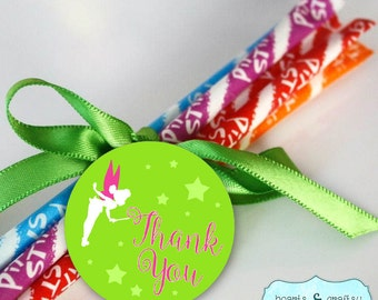 Fairy Thank You Tag / Garden Fairy Party Favor Tags / Stickers / Pirate Fairy / Pink Pixie / Woodland Fairy - Printable