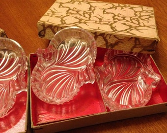 Set of Four Vintage Personal Glass Ashtrays in Original Boxes