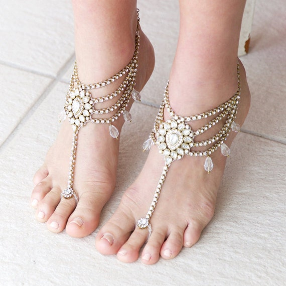 Indian Kundan Gold Tone Rhinestone Wedding Anklet Payal Pair