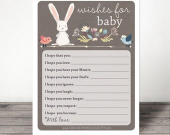 Wishes For Baby - Baby Shower Game - Well Wishes For Baby - Baby Bunny - Advice - Print at Home - DIY - Instant Download