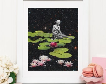 Collage art - Waterlily print for wall decor - Waterlilies illustration poster - UK seller