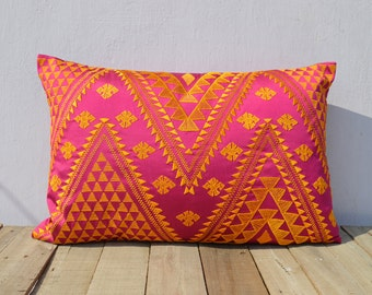 KIlim pattern embroidered pillow, hot pink and orange, Polytafetta pillow cover, size 14X21 inch throw pillow