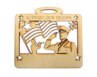 Support Our Troops Ornament - Military Christmas Tree Ornaments - Support Our Troops - Personalized Free