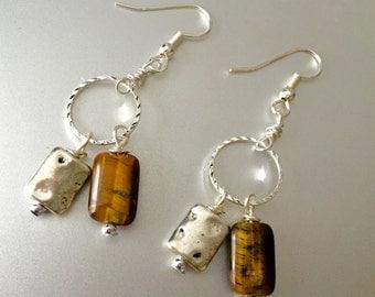 Tigereye/silver beaded earrings