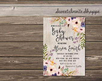 Baby Shower Invitation, Watercolor Floral Baby Shower Invitation, Boho Floral Baby Invitation, Rustic Wood Shower Invitation, DIY