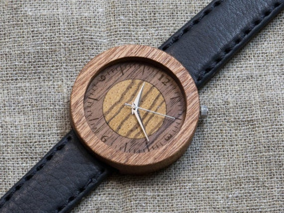 African Sapele  minimal wood watch , Majestic Watch, Black vintage Genuine Leather strap + Any Engraving / Gift Box. Christmas   gift