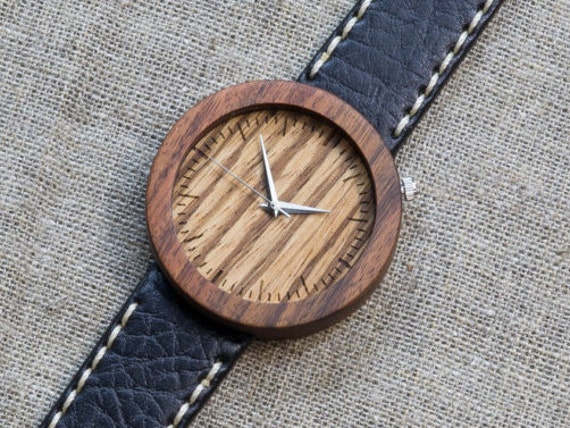 Rosewood + zebrano minimal wood watch , Majestic Watch,  Black and White Genuine Leather strap + Any Engraving / Gift Box. Anniversary  gift