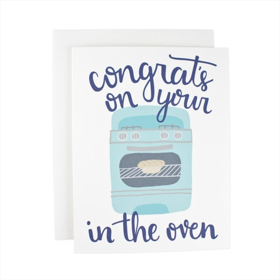 Congrats On Your Bun In The Oven baby greeting card, illustration, oven, new baby, baby boy,
