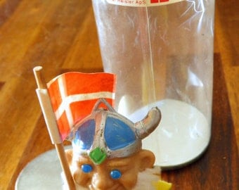 "Vintage Kai Reisler (Denmark) Hand Painted Troll--In Original Packaging--RARE & Highly Collectible--3-1/2"" H x 2-3/4"" W--Sword, Danish Flag"