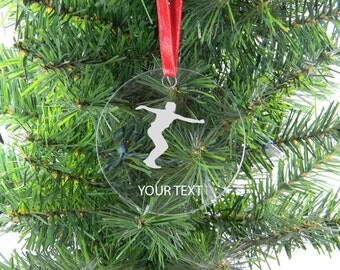 Personalized Custom female discus Clear Acrylic Christmas Tree Ornament