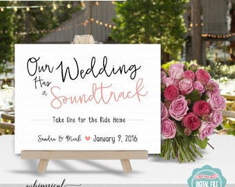 Wedding Soundtrack Sign Simple Words White Printable File Only