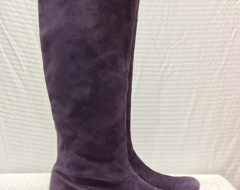 Robert Clergerie Boots, 7, Purple, Suede Leather , Flat Boots