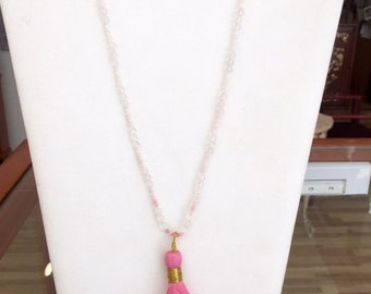 Hand Knotted Rose Quartz and Pink Opal necklace